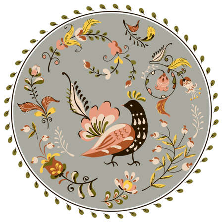 round floral ornament with flowers and bird in russian folk art painting style.