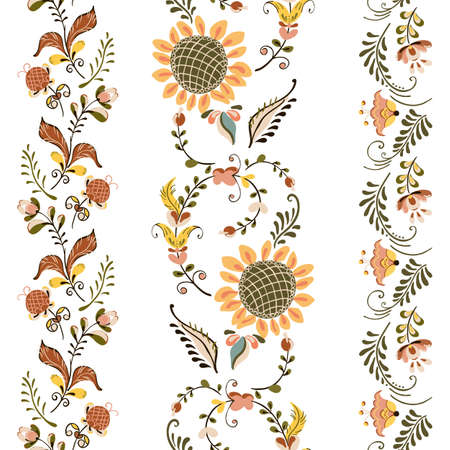 Vector floral set of seamless ornament border with flowers in russian folk art painting style