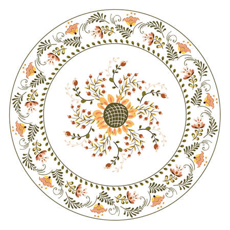Vector plate with floral ornament flowers and sunflower in russian folk art painting style
