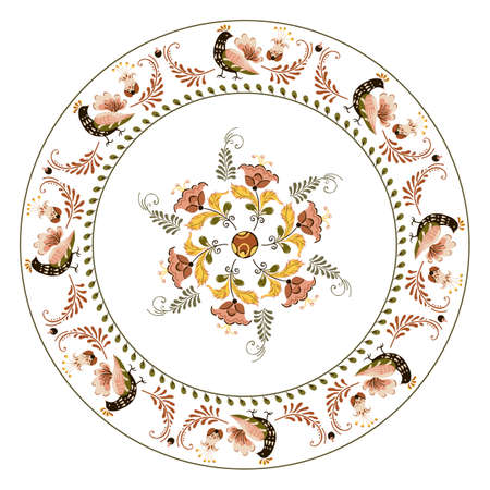 Vector plate with floral ornament flowers and birds in russian folk art painting style
