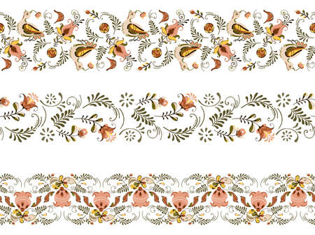 Vector floral set of seamless ornament border with flowers and birds in russian folk art painting style,