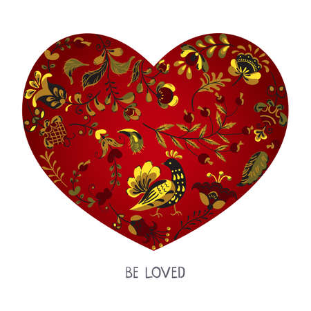 Vector red heart painted with floral ornament of flowers and birds in russian folk art style Ilustração