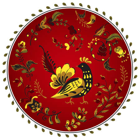 round floral ornament, red plate with flowers and bird in russian folk art painting style. Ilustração