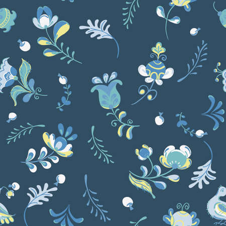 Vector seamless pattern with flowers and bird in Scandinavian style.