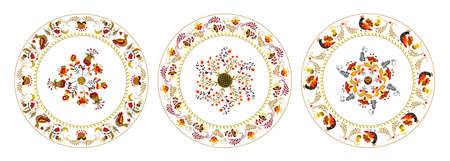 Set of vector plate with floral ornament flowers and birds in russian folk art painting style