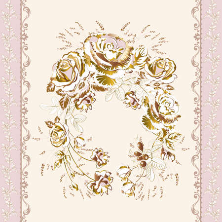 background in antique style of golden acanthus leaves and a wreath of gorgeous rose
