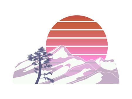 Sunset painting with abstract mountains, pine tree and gradient sun on white background.
