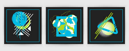 Abstract background, geometric memphis style design on black. Ilustração