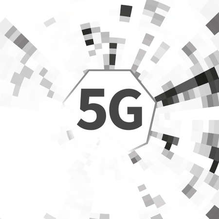5g internet connection speed sign on abstract geometric black and white background.