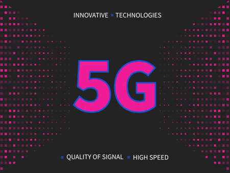 5g internet connection speed sign on glittering abstract background.