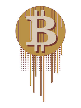 Virtual symbol of the coin bitcoin, futuristic digital money on white background.
