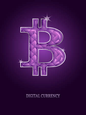 Virtual symbol of the coin bitcoin, crypto-currency, futuristic digital money.