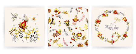 Vector set cards of seamless pattern with flowers and bird in Scandinavian style.