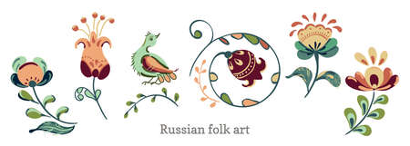 Flowers and birds in russian folk art painting style. Vector set of floral elements for design.