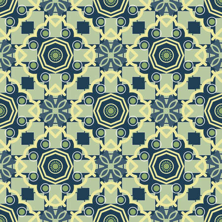 Seamless ceramic tile with colorful Geometric pattern in turkish style.