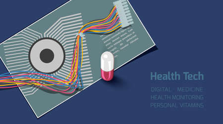 Microcircuit, computer cable and medical pill. Conceptual background Health Tech. Ilustração
