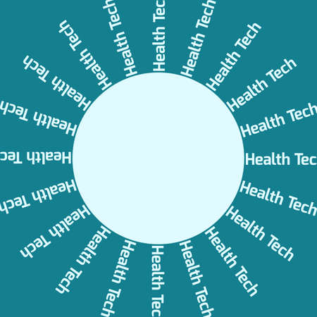 Round banner with inscription around Health Tech on turquoise background. Ilustração