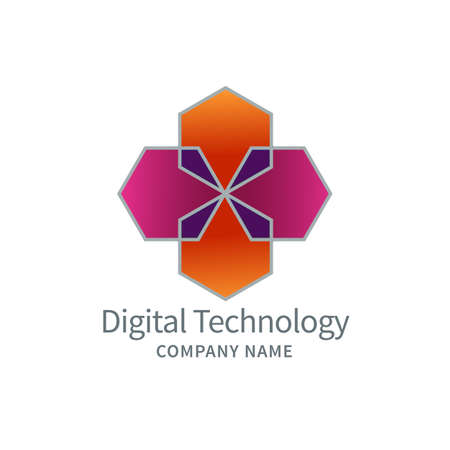 Abstract logo concept design for digital technologies, business, education, health.