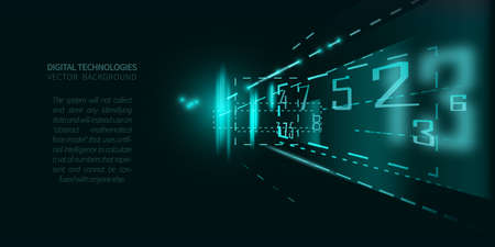 Abstract background with glowing lines and numbers on dark color, concept digital technology.