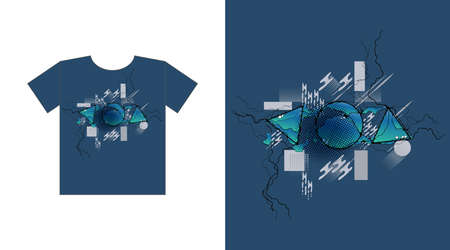 Modern neuro art, geometric abstraction, painting. graphics for t-shirt print design