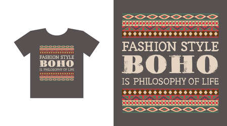 Ethnic frame with geometric patterns and handwritten phrase Fashion style Boho is philosophy of life. Ilustração
