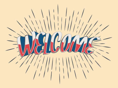 Vector lettering Welcome for a door sign in vintage rays. Retro Style Design