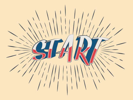 Lettering Start sign in vintage rays. Retro Style Design.
