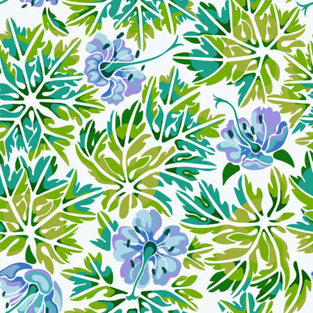 Seamless pattern with colorful Geranium flowers and leaves on white background.