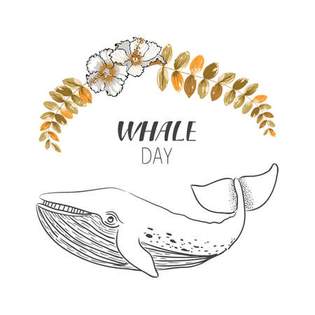 Drawn whale with flowers and leafs. Vector illustration in line art style. Ilustração