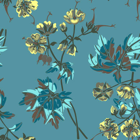 Seamless pattern with colorful Geranium flowers and leaves on pastel colors background.