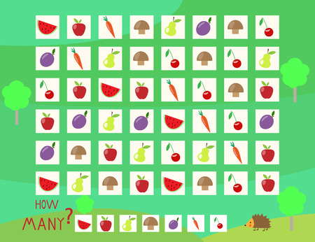 Riddle game help to count the hedgehog fruit vector