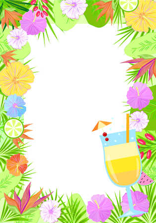 Invitation tropic vector flowers