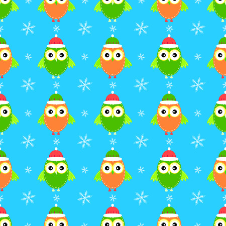 owl Christmas hat seamless pattern Illustration
