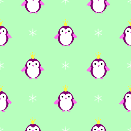 Penguin princess seamless pattern vector Illustration