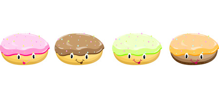 cupcakes isolated: Cake set isolated vector Illustration