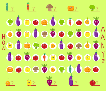 Puzzle game, count the cute vegetables