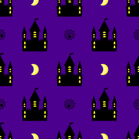 Cozy castle halloween seamless pattern Illustration