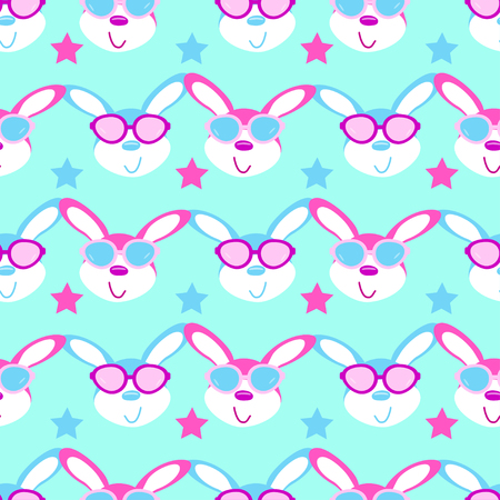 hare glasses seamless pattern