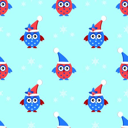 owl cap santa seamless pattern