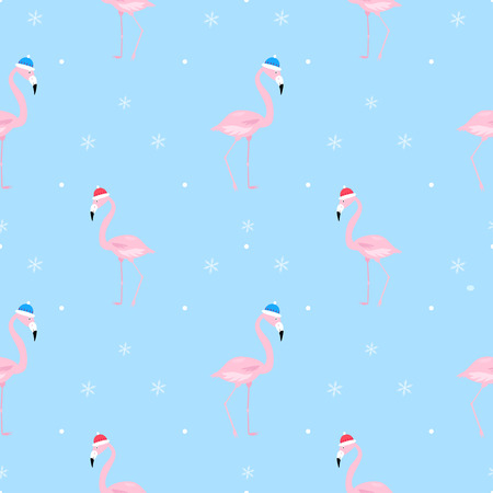 flamingo kind naadloze patroon kerstmuts vector