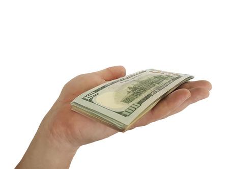 hand keeps money isolated Imagens