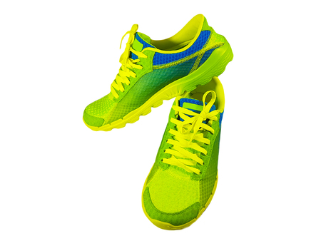 green sneakers, isolated Stock Photo