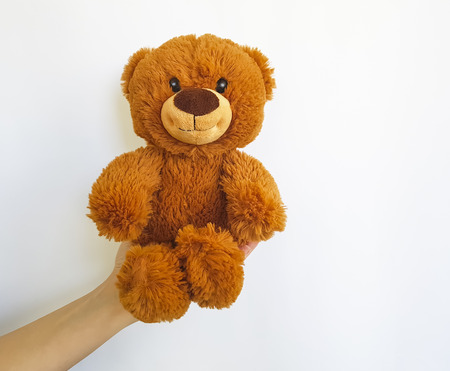 Hand holding a teddy bear toy isolated on a white background