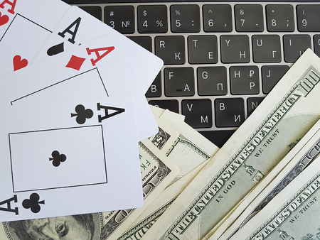 playing cards, dollars, background, keyboard,
