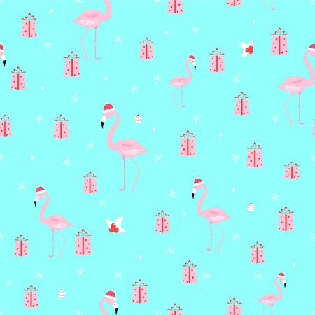 flamingo christmas seamless pattern Standard-Bild - 134712746
