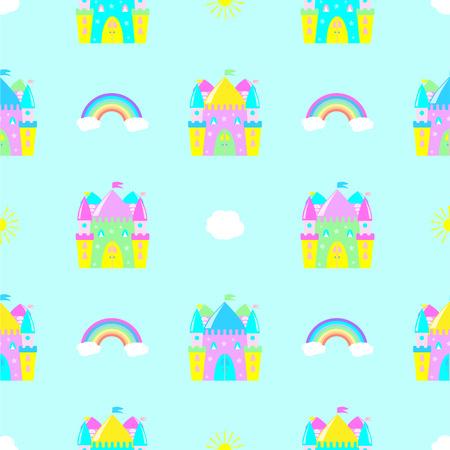 fairytale castle, clouds, sun rainbow seamless pattern  イラスト・ベクター素材