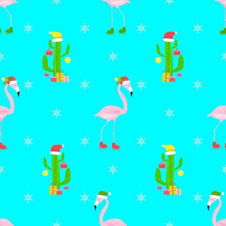 flamingo christmas seamless pattern Standard-Bild - 134712748