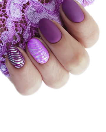 female hand, manicure lace