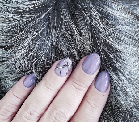 female hands, manicure fur Stock Photo