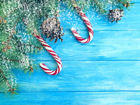 candy, snow bump on a wooden background, Christmas